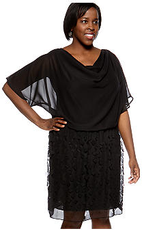 Plus Size Blouson Dress with Perforated Skirt