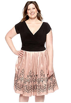 SL Fashions Plus Size Embroidered Taffeta Dress