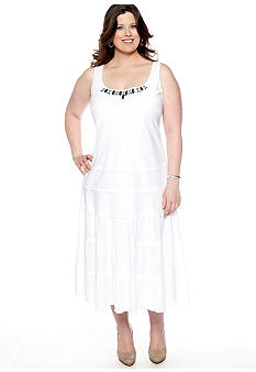 SL Fashions Plus Size Sleeveless Dress with Beaded Neckline