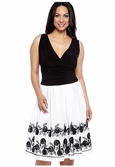 SL Fashions Plus Size Sleeveless Dress with Embroidered Skirt