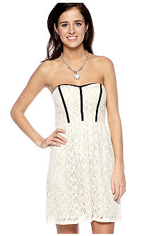 Strapless Lace with Trim Dress