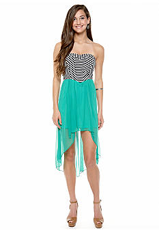 Speechless Stripe Bodice Chiffon Dress