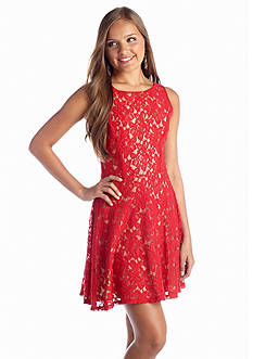 Speechless Lace Fit and Flare Dress