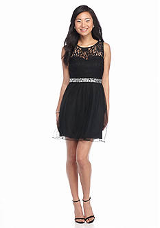 Speechless Sleeveless Belted Lace Skater Dress