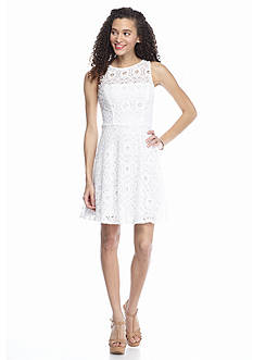 Speechless Circle Lace Skater Dress