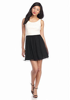 Speechless Black/Ivory Twist Back Tulle Skirt Dress