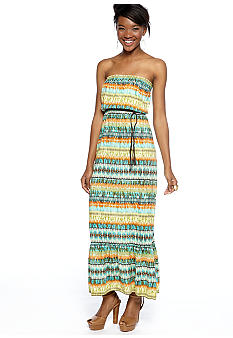Speechless Strapless Geo Stripe Maxi Dress