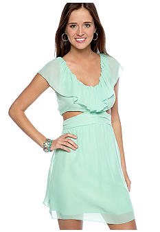 Speechless Chiffon Ruffle Cut Out Dress