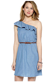 Speechless One Shoulder Ruffle Chambray Dress