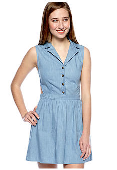 Speechless Denim Shirt Dress Cut Out