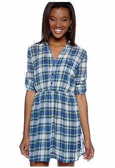 Speechless Three Quarter Sleeve Plaid Shirt Dress