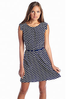 Speechless Belted Chevron Dress
