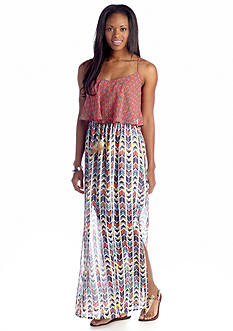 Speechless Mix Print Flounce Top Maxi Dress