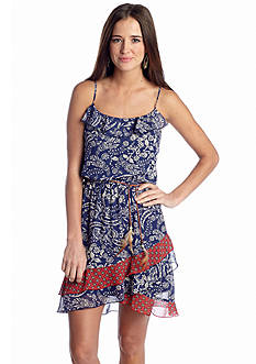 Speechless Feather Belt Printed Dress