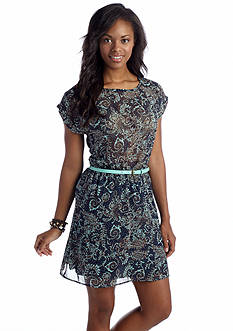 Speechless Belted Paisley Dress