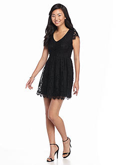 Speechless Black Cap Sleeve Allover Lace Dress