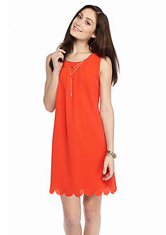 Speechless Scallop Hem Necklace Dress
