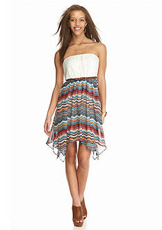 Almost Famous Lace Top and Printed Skirt Strapless Dress