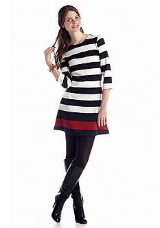Almost Famous Stripe Knit Dress with Contrast Stripe