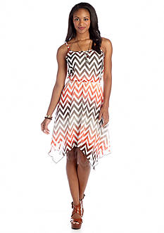 Almost Famous Strappy Chevron Ombre Dress