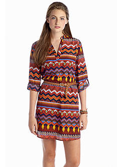 Almost Famous Belted Printed Dress