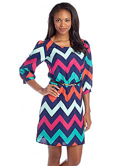 BeBop Belted Chevron Print Shift Dress