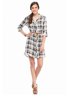 Almost Famous Roll Up Sleeveless Button Down Shirt Dress