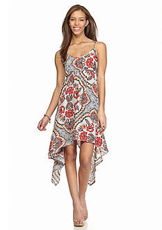 Almost Famous Printed Hanky Hem Dress