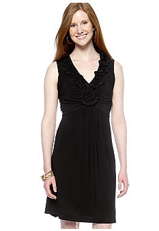 Tiana B Petite Sleeveless Ruffle Neckline Dress