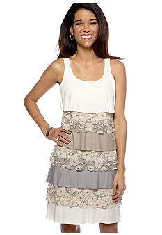 Tiana B Petite Sleeveless Tiered Shift Dress