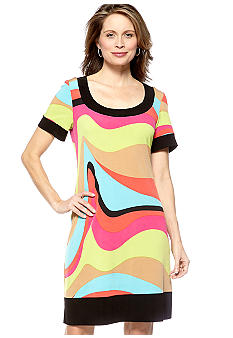 Tiana B Short-Sleeved Printed Jersey Dress