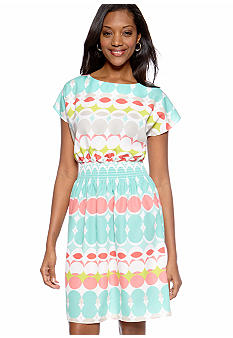 Tiana B Printed Smock Waist Dress