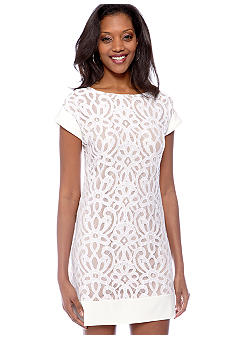 Tiana B Cuffed Cap-Sleeved Lace Dress