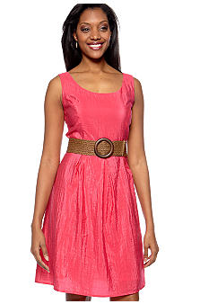 Tiana B Sleeveless Fit and Flare Belted Dress