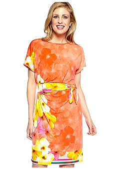 Tiana B Dolman-Sleeved Placed Print Shift Dress