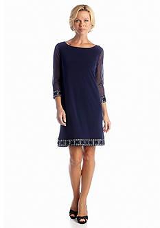 Tiana B Three-Quarter Sleeve Shift Dress with Bead Embellishment