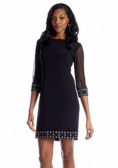 Tiana B Three-Quarter Sleeve Shift Dress with Bead Embellishment