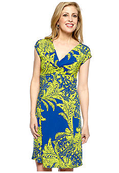 Tiana B Cap-Sleeved Paisley print Jersey Dress