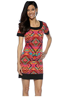 Tiana B Petite Short-Sleeved Geometric Printed Dress