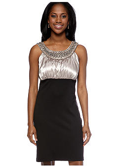 Petite Charmeuse with Beaded Necklace Dress