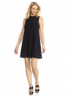 Tiana B Mock-neck Trapeze Dress