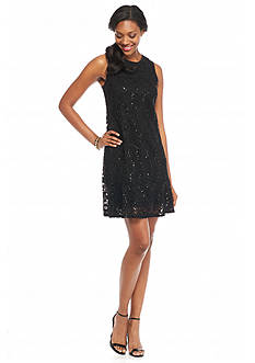 Tiana B Lace with Sequin Trapeze Dress