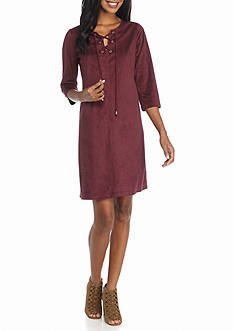 Tiana B Lace-Up Front Faux Suede Shift Dress