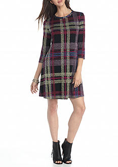 Tiana B Plaid Trapeze Dress