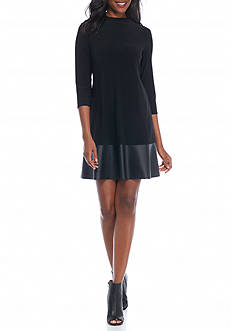 Tiana B Mock Neck Trapeze Dress with Faux Leather Trim