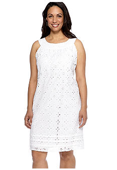 Tiana B Plus Size Sleeveless Eyelet Shift Dress