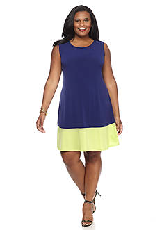 Tiana B Plus Size Coloblock Trapeze Dress