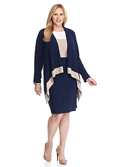Tiana B Plus Size Colorblock Jacket Dress