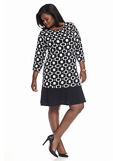 Tiana B Plus Size Geo Print A-Line Dress
