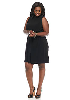 Tiana B Plus Size Mock Neck Trapeze Dress